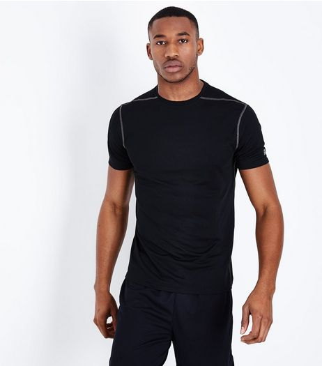 Black Mesh Short Sleeve Sports T-Shirt | New Look