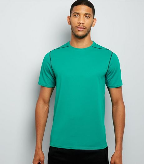 Green Mesh Short Sleeve Sports T-Shirt | New Look