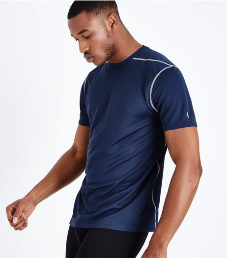 Navy Mesh Sports T-Shirt | New Look