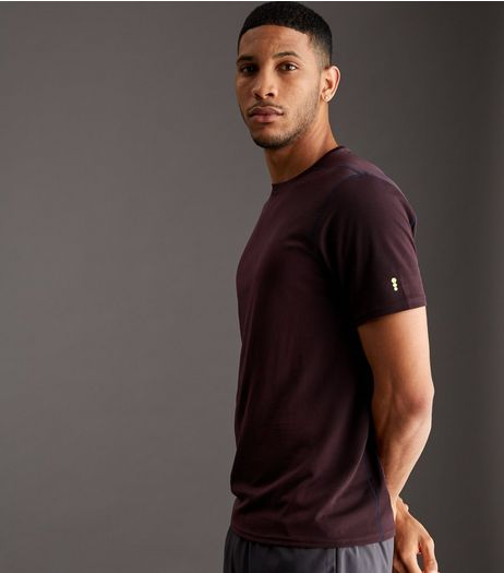 Burgundy Mesh Sports T-Shirt | New Look