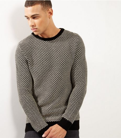 Black Mono Design Crew Neck Jumper | New Look
