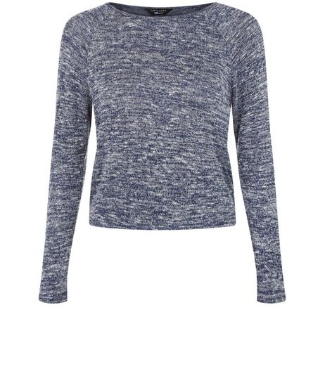 Teens Navy Space Dye Long Sleeve Top | New Look