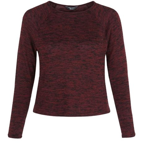 Teens Burgundy Space Dye Long Sleeve Top | New Look