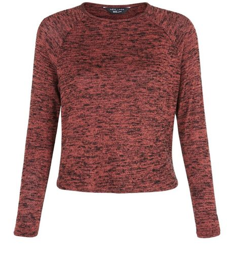 Teens Pink Space Dye Long Sleeve Top | New Look