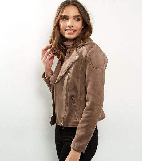 Mink Suedette Biker Jacket  | New Look