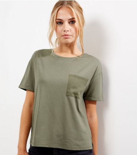 Olive Green Chiffon Back Pocket Front T-Shirt | New Look