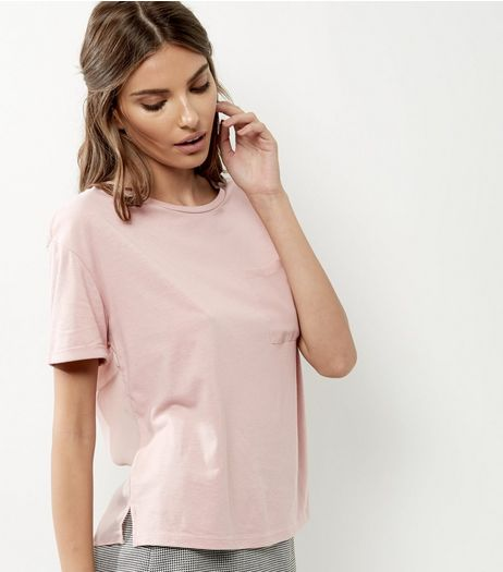 Mid Pink Chiffon Back Pocket Front T-Shirt  | New Look