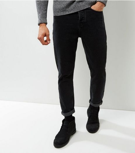 Black Washed Tapered Slim Leg Jeans | New Look