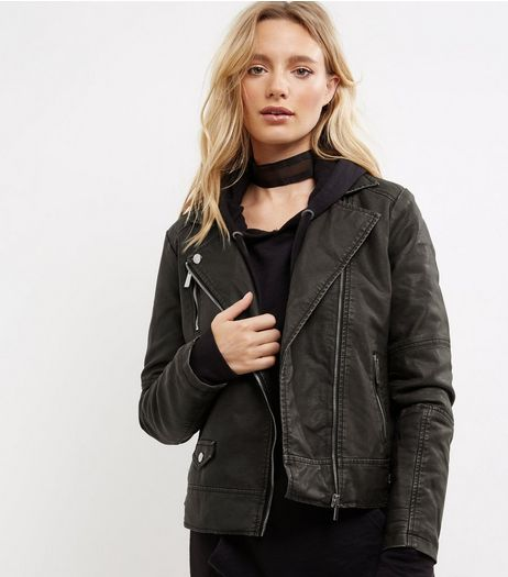 Black Washed Leather-Look Biker Jacket  | New Look