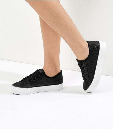 Black Glitter Contrast Platform Sole Trainers | New Look