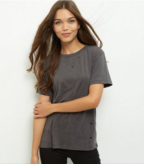 Dark Grey Ripped T-Shirt | New Look