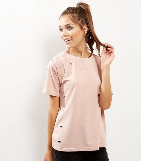 Mid Pink Ripped Short Sleeve T-Shirt  | New Look