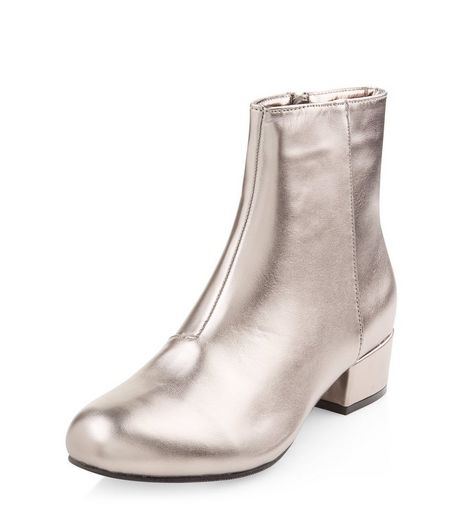 Teens Pewter Metallic Ankle Boots | New Look