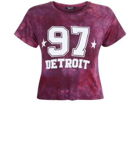 Teens Burgundy Tie Dye Detroit 97 Print T-Shirt  | New Look