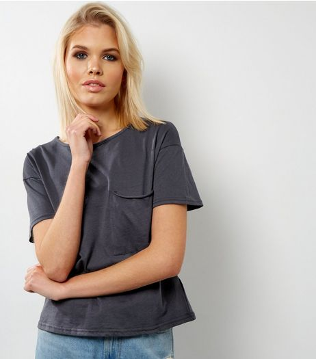 Dark Grey Oversized Pocket Front T-Shirt  | New Look