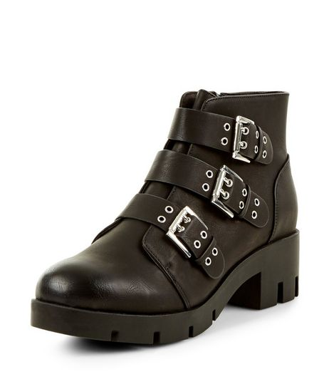 Teens Black Biker Cleated Sole Ankle Boots | New Look