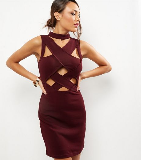 Burgundy Cross Front Bandage Dress | New Look