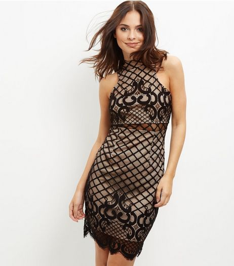 Black Lattice Back Lace Mini Dress  | New Look