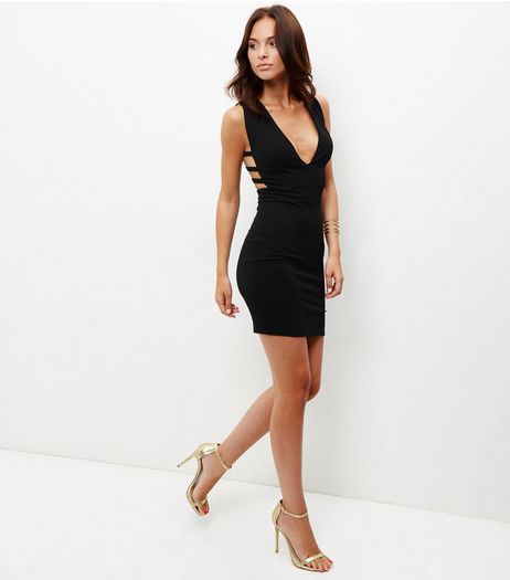 Black Caged Side Bodycon Mini Dress  | New Look