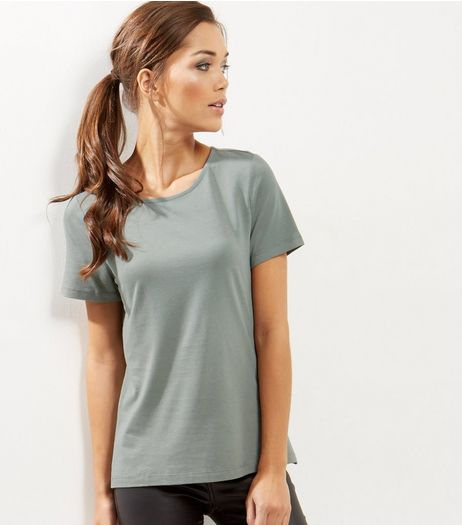 Olive Tie Back T-Shirt | New Look