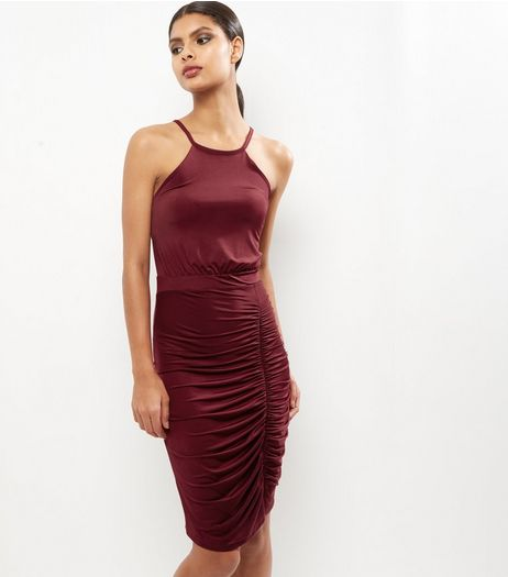 Burgundy Ruched Side Midi Dress | New Look