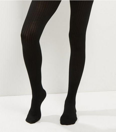 Black Ribbed Luxury Tights | New Look