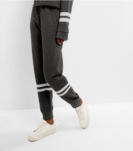 Dark Grey Stripe Hem Joggers  | New Look