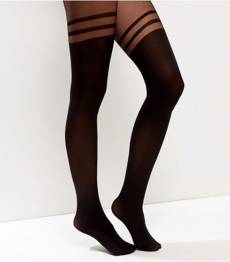 Black Triple Stripe Suspender Tights | New Look