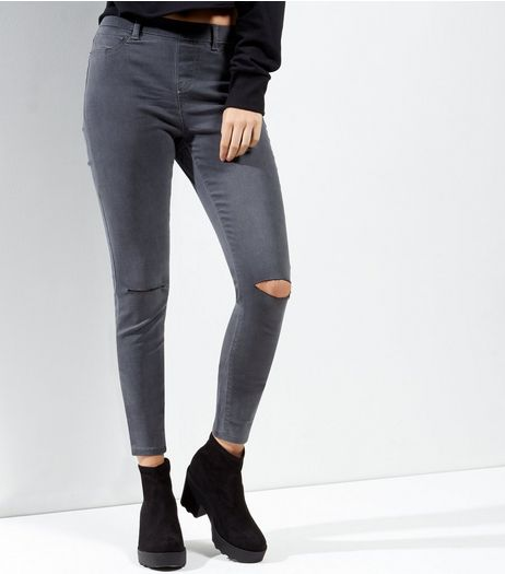 Grey Ripped Knee Jeggings | New Look