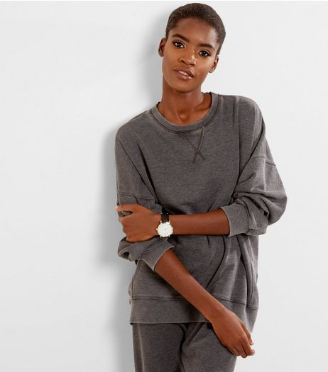 Dark Grey Washed Balloon Sleeve Sweater  | New Look