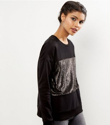 Black Sequin Panel Sweater | New Look