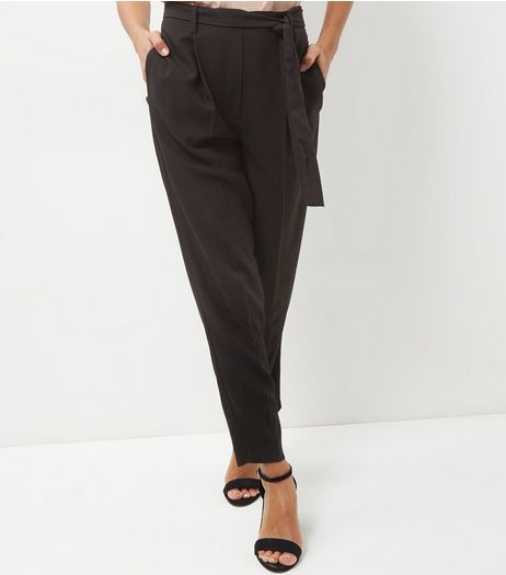 Black High Waist Tie Front Trousers | New Look