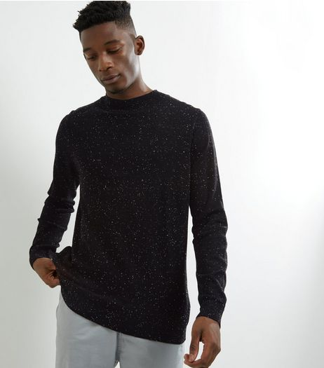 Black Speckled Turtle Neck Jumper | New Look