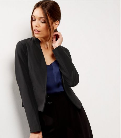 Black Cropped Open Front Jacket  | New Look