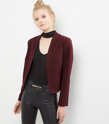 Burgundy Cropped Blazer | New Look