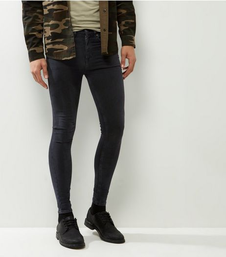 Black Washed Extreme Super Skinny Jeans | New Look