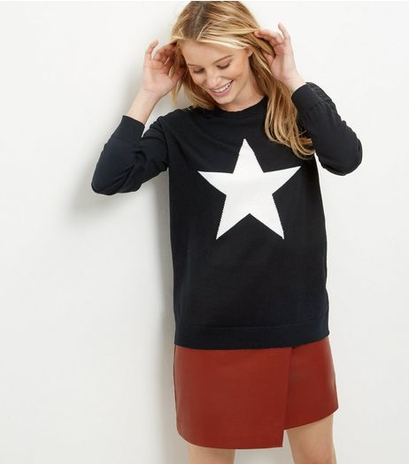 Black Star Print Jumper | New Look