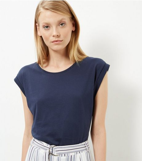 Navy Roll Sleeve T-Shirt  | New Look
