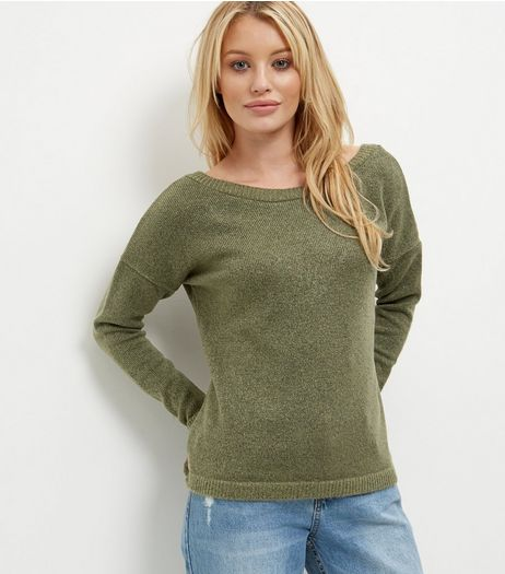Olive Green Cross Back Jumper  | New Look