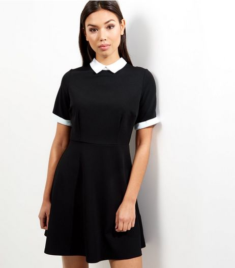 Black Contrast Trim Collared Skater Dress | New Look