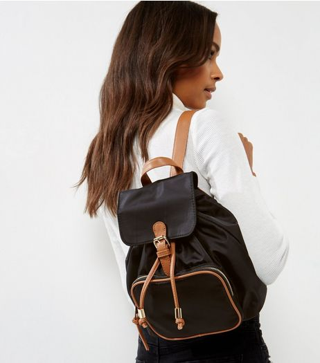 Black Contrast Tan Trim Mini Backpack | New Look