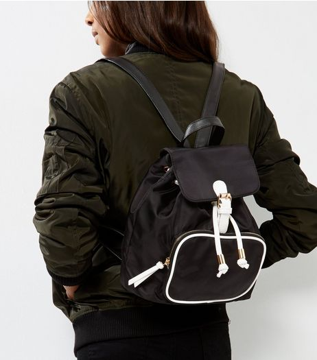 Black Contrast White Trim Mini Backpack | New Look