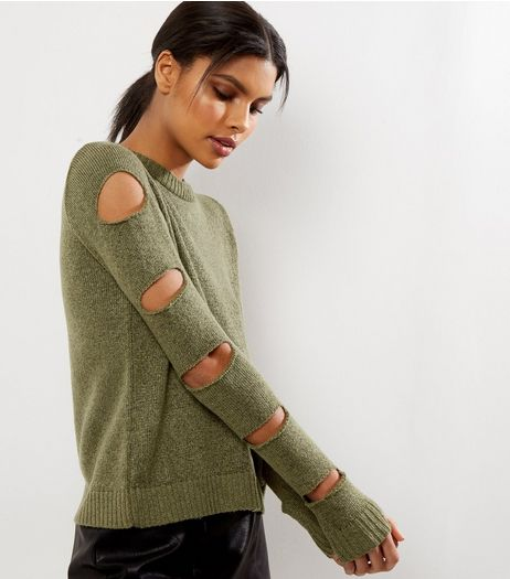 Olive Green Cut Out Sleeve Jumper  | New Look