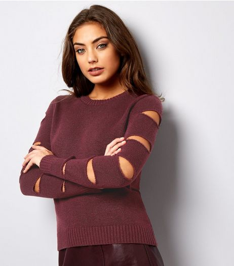 Burgundy Cut Out Sleeve Jumper | New Look