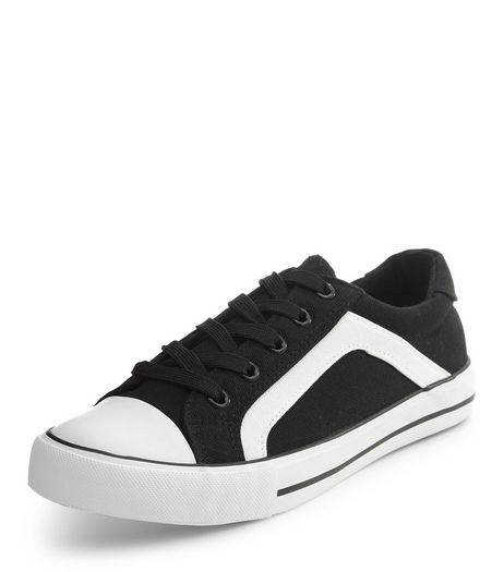 Teens Black Canvas Side Stripe Lace Up Trainers | New Look