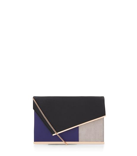 Blue Colour Block Print Panel Clutch | New Look