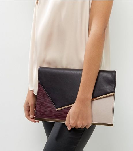 Burgundy Colour Block Panel Clutch | New Look