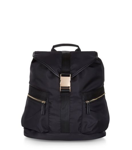 Black Double Pocket Front Backpack | New Look