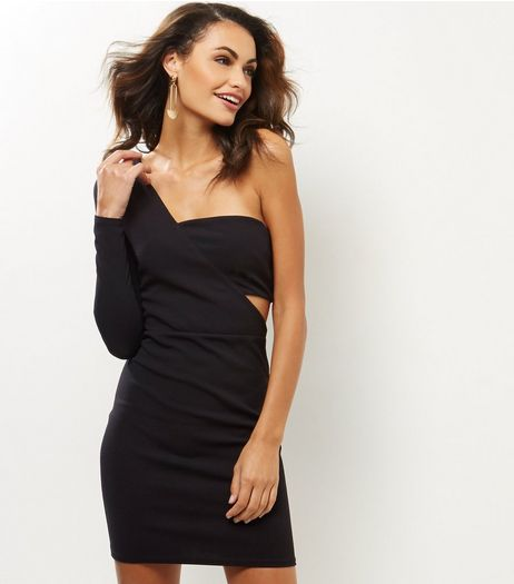 Black Cut Out Shoulder Bodycon Dress | New Look