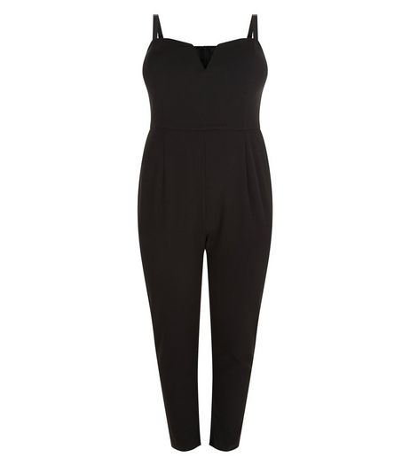 Curves Black Crepe Notch Neck Jumpsuit  | New Look